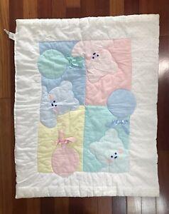Vintage Cuddle Time Baby Blanket Comforter Pastel Bears Balloons Ribbons Unisex