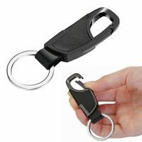 Men Black Leather Car Keychain Keyring Lobster Clasps Key Holder Business Gift