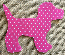 Fabric Iron on Pink Polka Dot Dog- Bunting Making - Personalisation