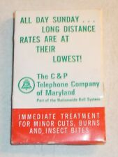 VINTAGE C & P Bell Telephone Company of Maryland Matchbook FIRST AID Kit