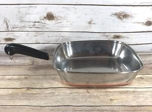 "Vintage Revere Ware Pre-1968 11"" Square Skillet Frying Copper Clad Bottom 1801"