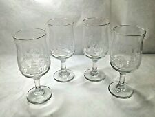Set of 4 Arby's Frosted Etched Winter Snow Scene Goblets Wine Stemmed Glasses