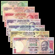 India 7 PCS Banknotes Set (5+10+20+50+100+500+1000 Rupees), Random year, UNC