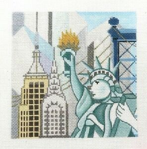 Amanda Lawford Small New York City Scene Handpainted Needlepoint Canvas