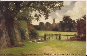 SUPERB OLD POSTCARD - FIELD FOOTPATH TO EVINGTON FROM LEICESTER  1906