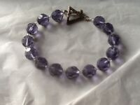 Vintage Purple Glass Beaded Bracelet & 925 Sterling Clasp Clear Crystal Beads