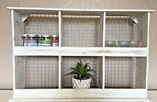 Shabby Chic Wooden Cabinet Shelf Rustic Pigeon Hole Kitchen Spice Cupboard Unit