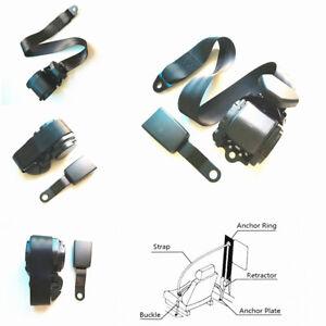 Car 3 Point Automatic Lap & Diagonal Seat Belt Kit Straps Iron Plate Style Black