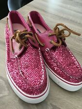 Sperry Top Side ladies pink glitter deck shoes size 4 / 37