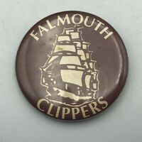 "Rare Vtg Falmouth Clippers High School On Cape Cod 2.25"" Button Pin Pinback Y4"