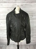 GUESS Faux Leather Biker Jacket - UK8 - Black - Great Condition