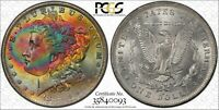 1883 o Morgan SILVER Dollar PCGS MS64 UNC Wild Rainbow Bag Toning Color BU (DR)