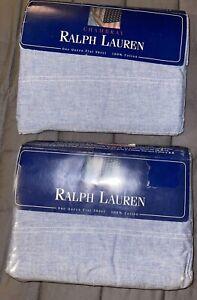 X 2 Ralph Lauren Blue Chambray Queen Flat Sheet USA NIP