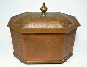 Antique Indian Copper Tea Caddy Box/Casket Late 19thC Signed
