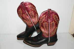 Ariat Western Cowboy Boots, #10006835, Black/Burgundy, Leather, Mens Size 8.5