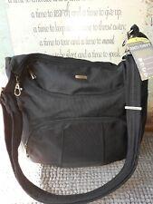 Travelon anti-theft crossboddy / shoulder bag in black with aqua interior NWT