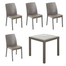 Set completo giardino tavolo quadrato 80x80 tortora con 4 sedie senza braccioli