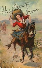 Printed PC Belle of Plains Cowgirl Running Horse Greetings LaGrande OR 1901-07