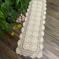 Vintage Crochet Table Runner Beige Lace Tablecloth Doily Home Decor 15x35 in