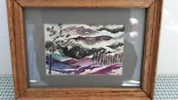 Mountains Watercolor Original Painting Landscape Wall Art Nature Wooden Framed