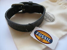 Men's Fossil Leather Fabric BRACELET NEW with fossil cloth bag BNWT