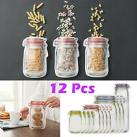 12X Sealed Mason Jar Food Storage Zipper Bags Zip Lock Pouch Keep Fresh Reusable