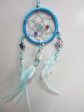 Turquoise Cute Small Car Dream Catcher Mini 6cm Silver Web w/ Beads & Mirrors