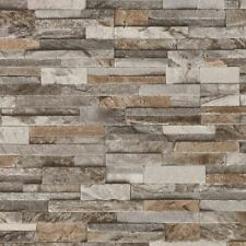 Brick Effect 3D Wallpaper Slate Stone Wall Textured Brown Grey Paste Wall