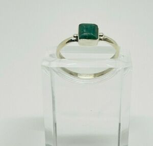 Gorgeous Sparkling Real Emerald Stone Ring 925 Silver Size S~S1/2 #15693