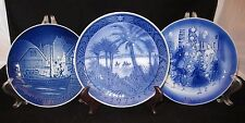 3 Blue & White Christmas plates, Denmark, 1972, 1973, 1976 Royal Copenhagen, B&G
