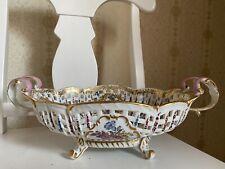 Antique Bourdois&Bloch Handpainted Large Centerpiece Bowl, 🌍shipping