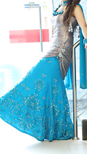 Blue teal silver dress gown sleeveless party wedding cocktail Bollywood Indian