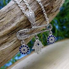 """Luck Pin"" Hamsa .925 Silver CZ Safety Pin Pendant Necklace"