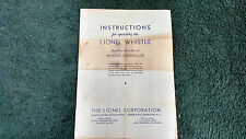 Lionel # 66 Or 67 Whistle Controller Instructions Photocopy