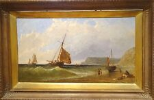 Fine Large 19 H siècle anglais Coastal bateaux naviguant marine peinture à l'huile Meadows