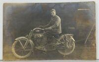 Rppc WW1 Era Soldier Harley Davidson Motorcycle w/ Chains on Tires Postcard O1