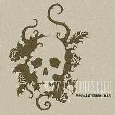 Reusable airbrush stencils templates - Large Skull Flower