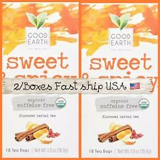 Good Earth Teas Organic Sweet and Spicy Caffeine Free Herbal 25 Bags 2 Boxes=50