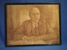 Rötelzeichnung, Portrait, gewidmet M. Wechsler, 1928, unbek. Künstler