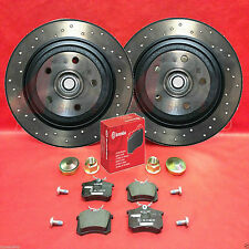 FOR RENAULT MEGANE 2.0 SPORT F1 RS R26 230 REAR DRILLED BRKAE DISCS BREMBO PADS