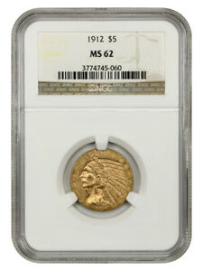 1912 $5 NGC MS62 - Indian Half Eagle - Gold Coin