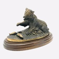 Gallery Originals Brass Grizzly Bear Stream Fishing Statue Figure Bronze Hunting