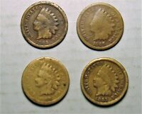 Lot of 4 Indian Head Pennies , 2 Copper-Nickel 1859 1863 1864 1865 Cents Penny