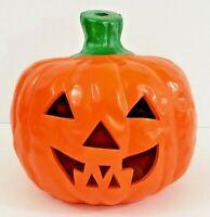 """Ceramic Orange Halloween Pumpkin Votive Candle Holder 6 1/2"""" x 6 1/4"""" IOB"""