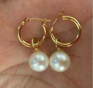 PERFECT AAA 11 MM South Sea White Round Pearl Dangle Earrings 14K GOLD