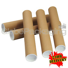 More details for 50 x a3 quality postal cardboard poster tubes size 330mm x 50mm + end caps 24hrs