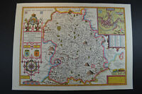 Vintage decorative sheet map of Shropshire Shrewsbury John Speede 1610