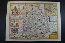 Vintage decorative sheet map of Shropshire Shrewsbury John Speede 1610