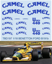 1/18  BENETTON FORD SPONSOR B191B 1992 DECALS TB DECAL TBD197