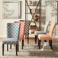 Catherine Moroccan Pattern Fabric Parsons Dining Chair (Set
